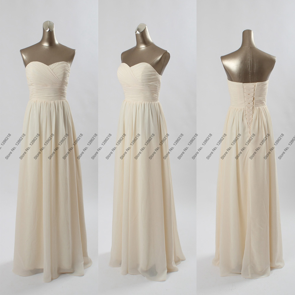 Elegant new champagne long bridesmaid dresses formal for Elegant wedding party dresses