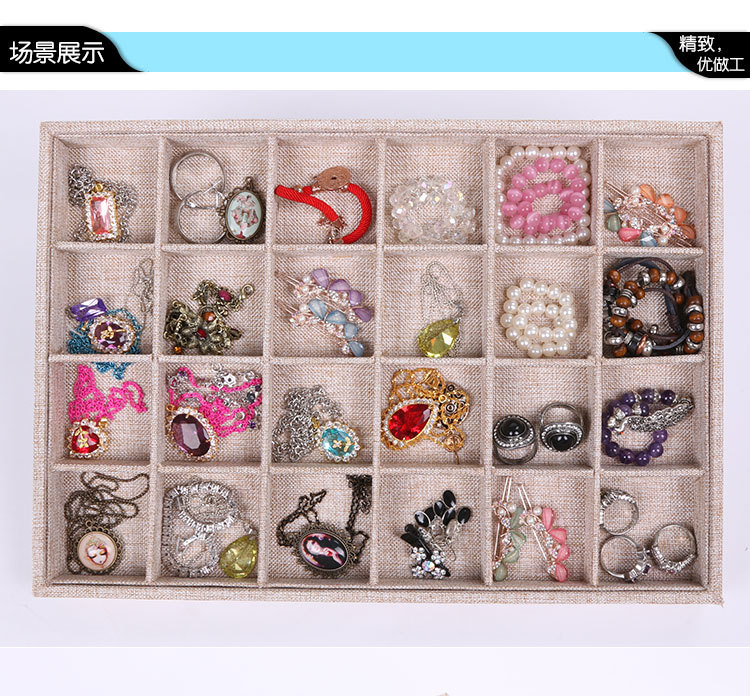 Wholesale high quality 24 grids Bracelet display box rings, earring and display board High quality linen fabric free shipping(China (Mainland))