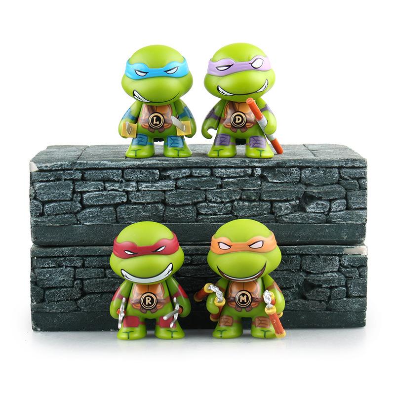 4pcs Lot 8cm TMNT Teenage Mutant Ninja Turtles Action Figures Opp Bag NECA Anime Movie Toys Gift(China (Mainland))