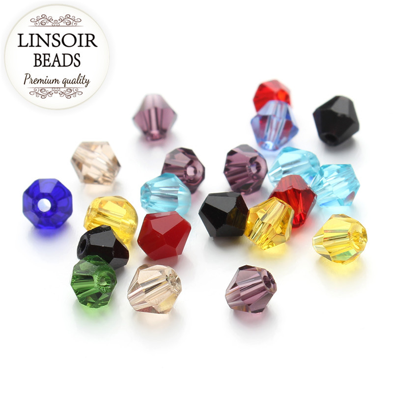 200Pcs/lot Mixed Colors 4mm Faceted Bicone Crystal Ball Beads Charm Glass Loose Spacer Beads DIY Jewelry Making F2350