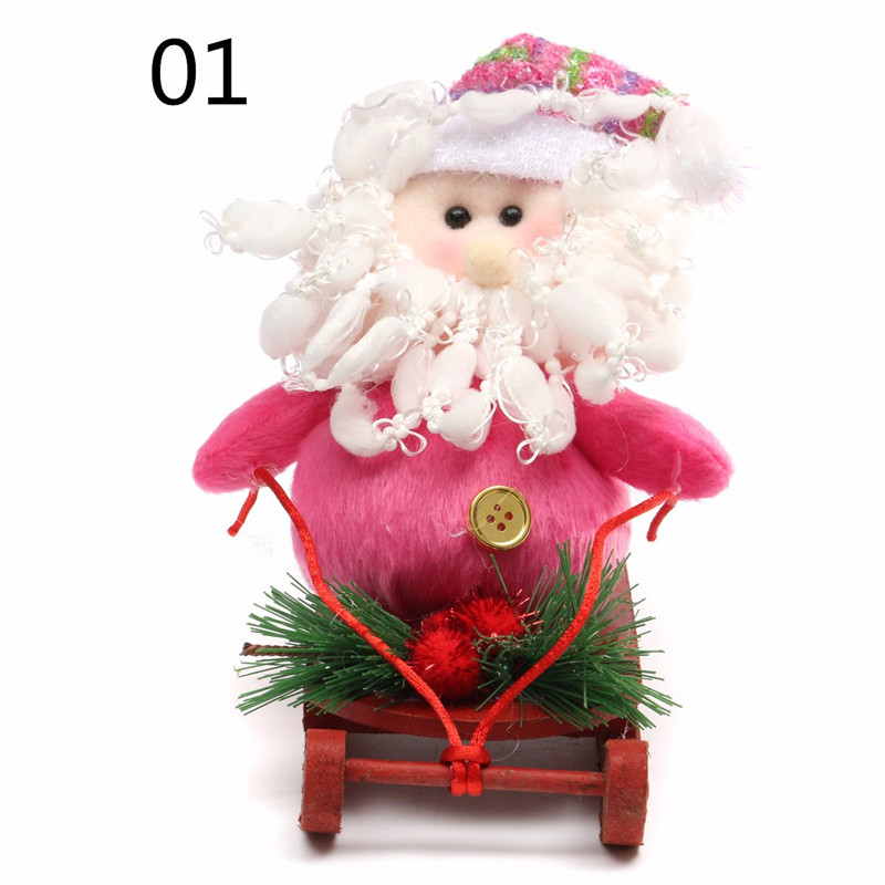 Lovely Fabric Crafts Cloth Santa Claus Snowman With Wooden Sledding Christmas Decorations Home Ornaments Xmas Gift For Kids(China (Mainland))