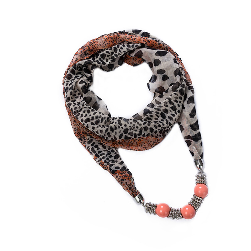 2015 Lureme Vintage Bohemian Style with 3 Pink Beads Pendant Leopard Printing Scarf Necklace for Women Shawls and Scarves(China (Mainland))