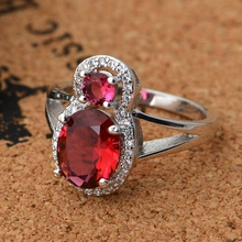 Fashion Red Purple Blue Double Simulated Diamond Bijoux 925 Silver Ring for Women Micro Pave Diamante