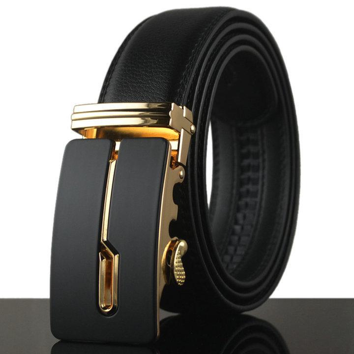 110-130cm gold auto buckle mens belt black color luxury blets for men famous brand designer business belt men waistband KB-95(China (Mainland))