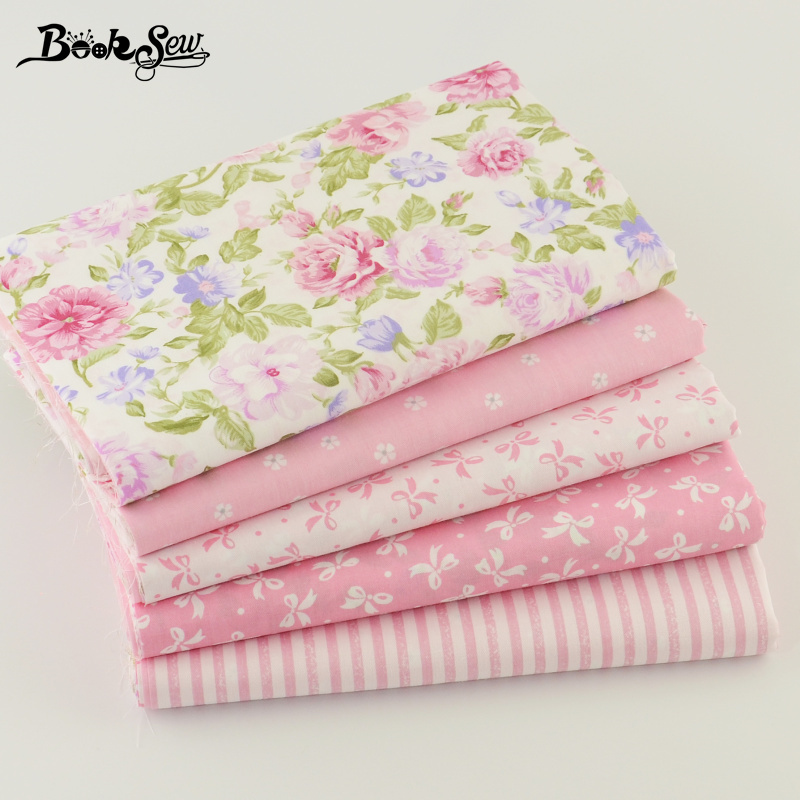 5 pcs 40cm*50cm Pink 100% Cotton Fabric For Sewing Fat Quarter Quilting Patchwork Tissue Tilda Doll Cloth Kids Bedding Textile(China (Mainland))