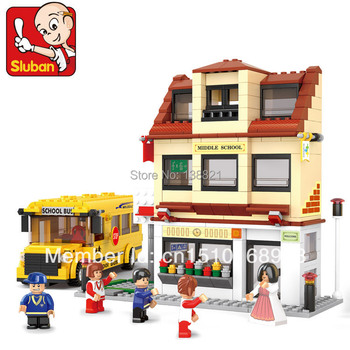DIY Educational Toys for children Building Blocks school and school bus  self-locking bricks Compatible with Lego