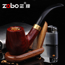 Hot Hot ZOBO authentic wood Smoking Pipes  Only to supply high-end men's Ebony tobacco pipe Ben Type pipe  size 14*5cm