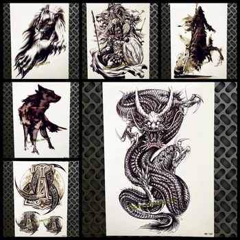 New Large Black Dragon Desgion Fake Arm Tattoo For Men Women Body Chest Art Tatoo 21x15cm Waterproof Temporary Tattoo Stickers