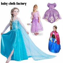 Free shipping only 8.5$! Retail frozen dress 2014 New girls Elsa & Anna frozen Dress For Girl Princess Dresses party costume(China (Mainland))