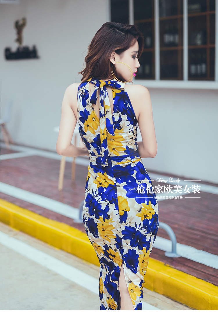 Classy sexy elegant party ball night club dinner office dating annual meeting long maxi sling printing pattern halter dress(China (Mainland))