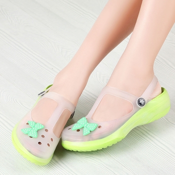 2015 New Mary Jane hole beach shoes jelly sandals breathable slip women garden shoes heavy-bottomed flat shoes #B1155