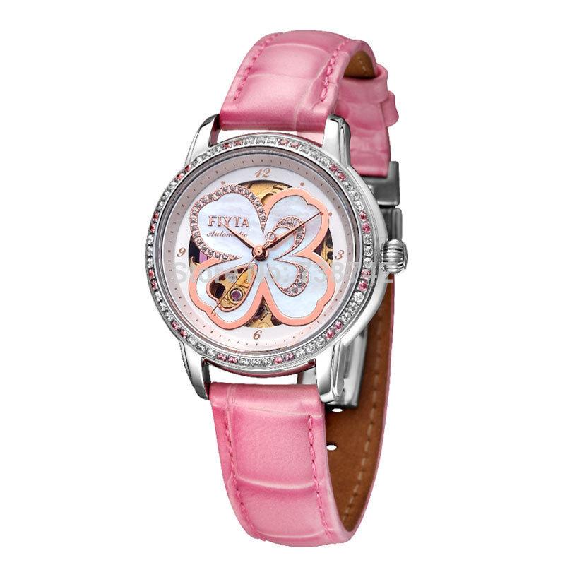 Fiyta Brand Women's Dress Watch -Pink Leather Strap Gem Inlaid Clover Designed Female Mechanical Wristwatch DLA8262.WWSD(China (Mainland))