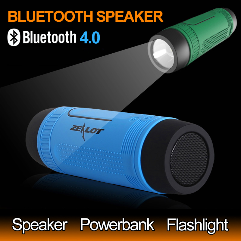 ZEALOT S1 Multifunction Outdoor Stereo Wireless Bluetooth Speaker With LED Flashlight/4000mAh Battery/FM Radio/TF Card Slot(China (Mainland))