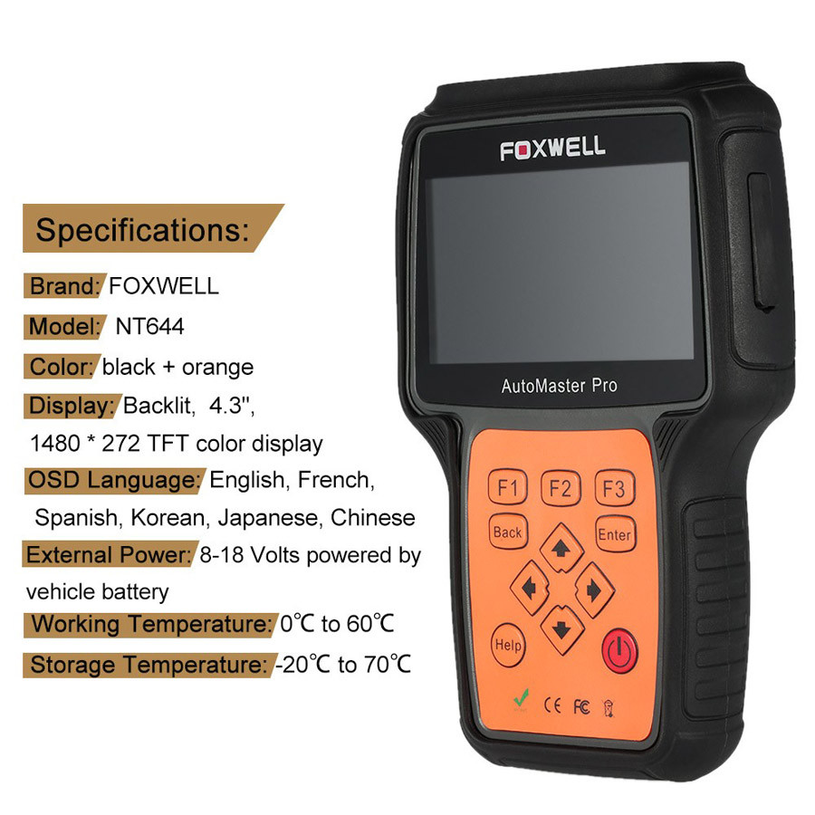 New Arrival Foxwell NT644 AutoMaster Pro All Makes Full Systems+ EPB+ Oil Service Scanner Foxwell NT644 Auto Diagnostic Scanner
