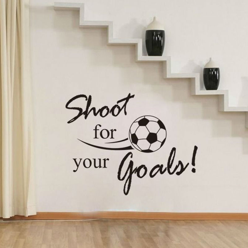 Shoot For Your Goals Soccer Wall Decals Vinyl Removable Art Wall Sticker Living Room Home Decor(China (Mainland))