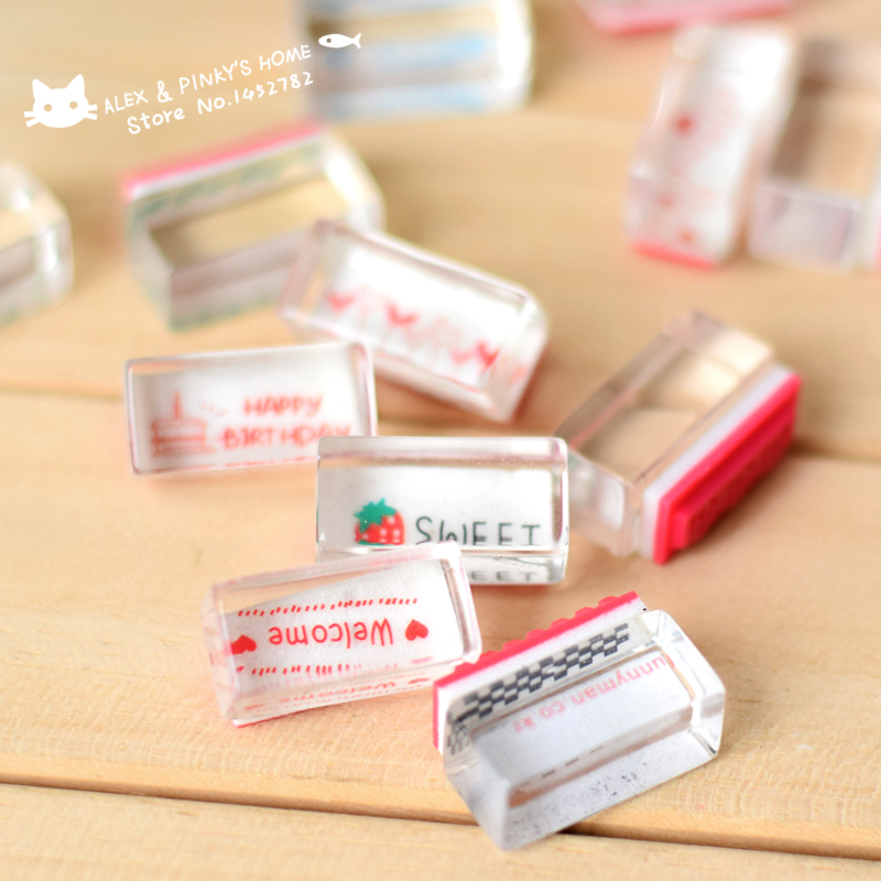 Creative Kawaii Stamps Cute Crystal Seal Small Stamp DIY Diary Blessing Ink Pad Clear Stamp for Scrapbooking tinta sellos(China (Mainland))