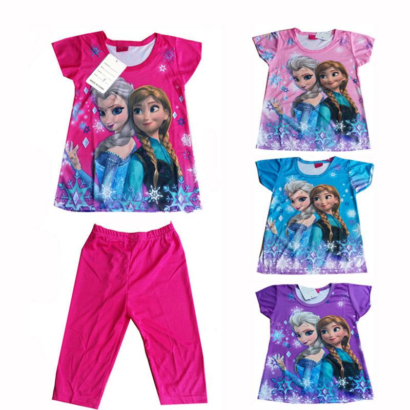 Girl's Short Sleeve Pajamas Set Summer Elsa Anna Baby Girls Sleepwear Children Character Pyjamas Clothes Pijama Infantil CK002(China (Mainland))