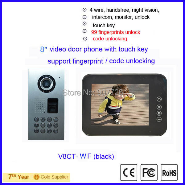 2015 new 8inch touch key waterproof video door phone intercom with keypad support fingerprint/code unlocking (V8CT--WF black)(China (Mainland))