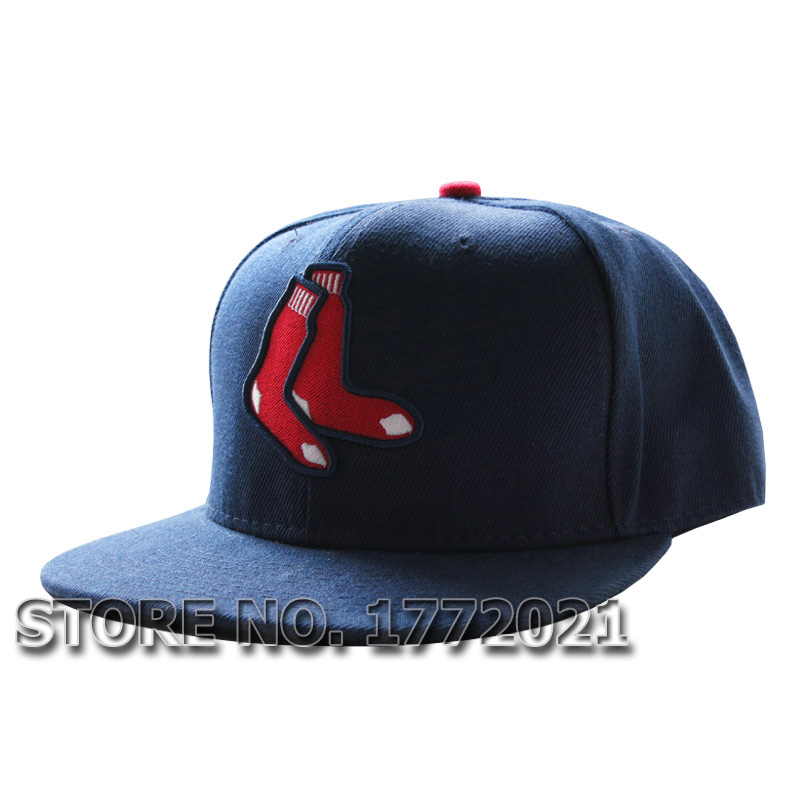 Men's flat brim baseball sport team hats boston red sox navy blue full closed fitted caps(China (Mainland))
