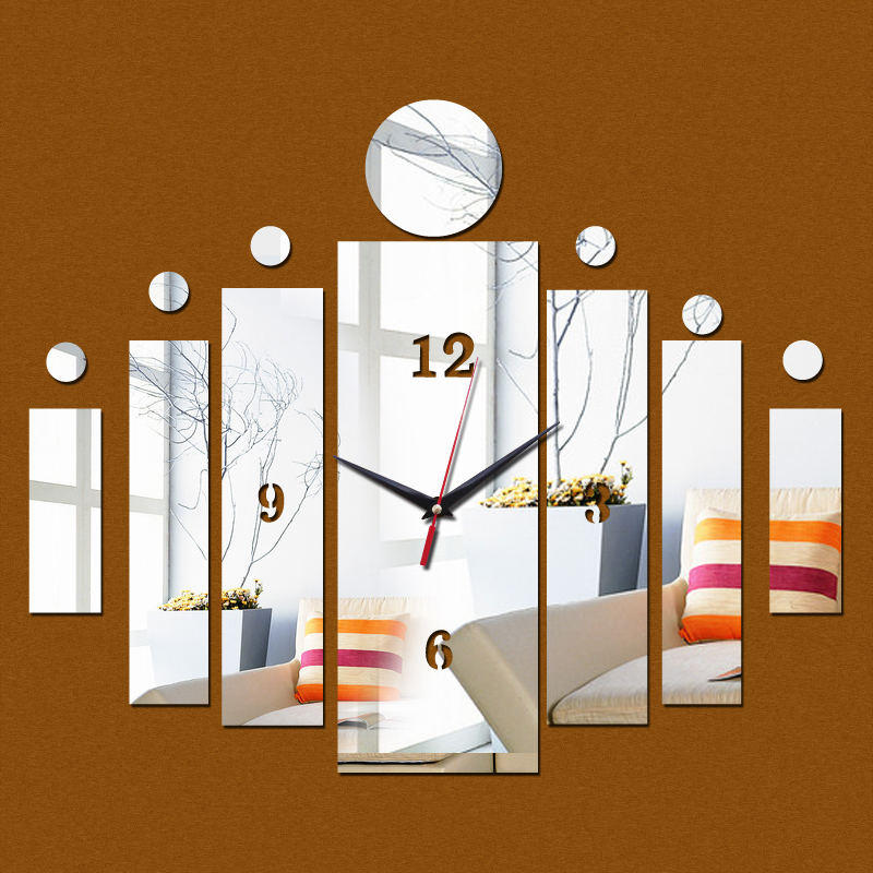 2016 new 3d wall clock home crystal art kids modern design watch living room acrylic mirror diy square stickers free shipping(China (Mainland))