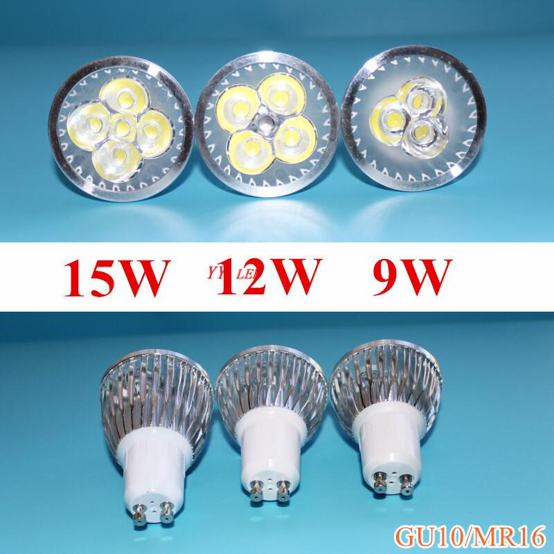 High power 9W 12W 15W GU10 LED Bulbs gu5.3 mr16 AC85-265v Led Spotlights Warm/Cool White GU5.3 LED downlight free shipping(China (Mainland))