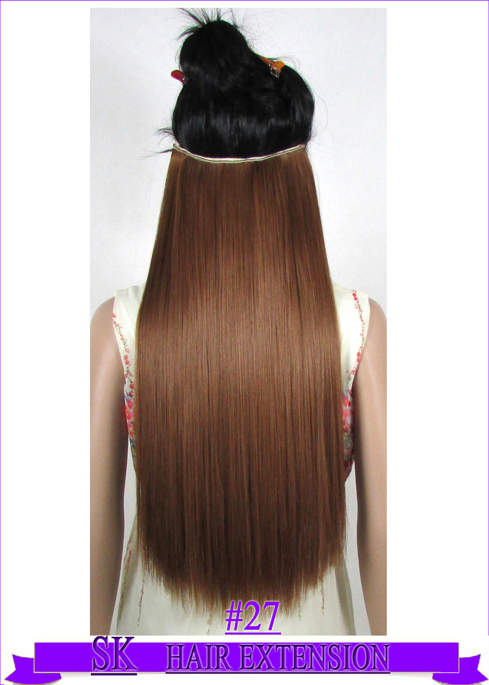 24 (60cm) 120g straight hair piece no shiny hot resistant fiber clip in hair extensions color #27 Medium Golden Brown<br><br>Aliexpress