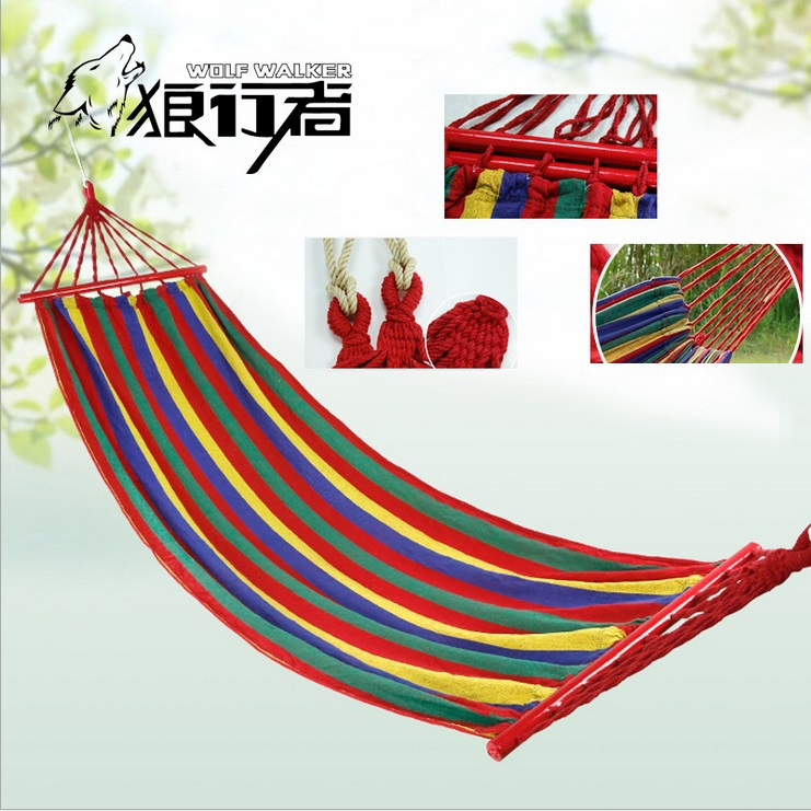 Outdoor leisure Hammocks with thick wooden outdoor canvas hammock single hammock camping hiking equipment factory wholesale(China (Mainland))