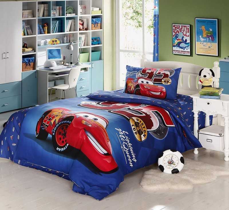 Kids 100 cotton Boys cars Blue bedding queen size Duvet Cover Twin Size Pillowcase/Comforter Cover Sets for Kids Bed(China (Mainland))