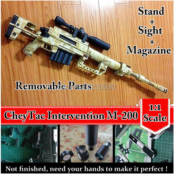 CheyTac Intervention M-200 Sniper Rifle Scale 3D Paper Model Cosplay Kits Kid Adults' Gun Weapons Models Handmade Toys