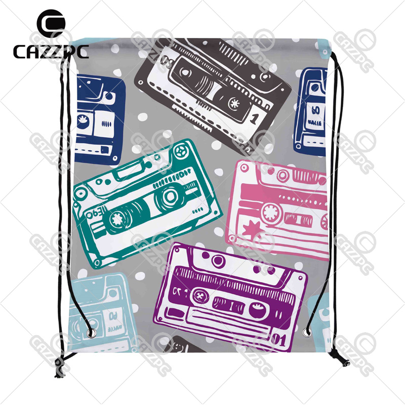 Cartoon Colorful Vector Old Audio Cassete Print Custom individual Nylon Fabric Drawstring Shoes Storage Dust Bag Pack of 4()