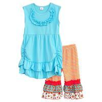 Hot 2016 Fashion Children Clothing Sets Sleeveless Long Top Stripes Ruffle Pants Baby Girls Boutique 2 Pcs Lovely Outfits  CO106(China (Mainland))