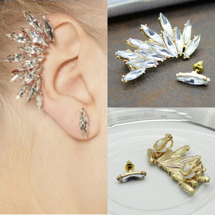 New Fashion Earring Stud Shape Rhinestone Right Ear Cuff Clip earrings(China (Mainland))