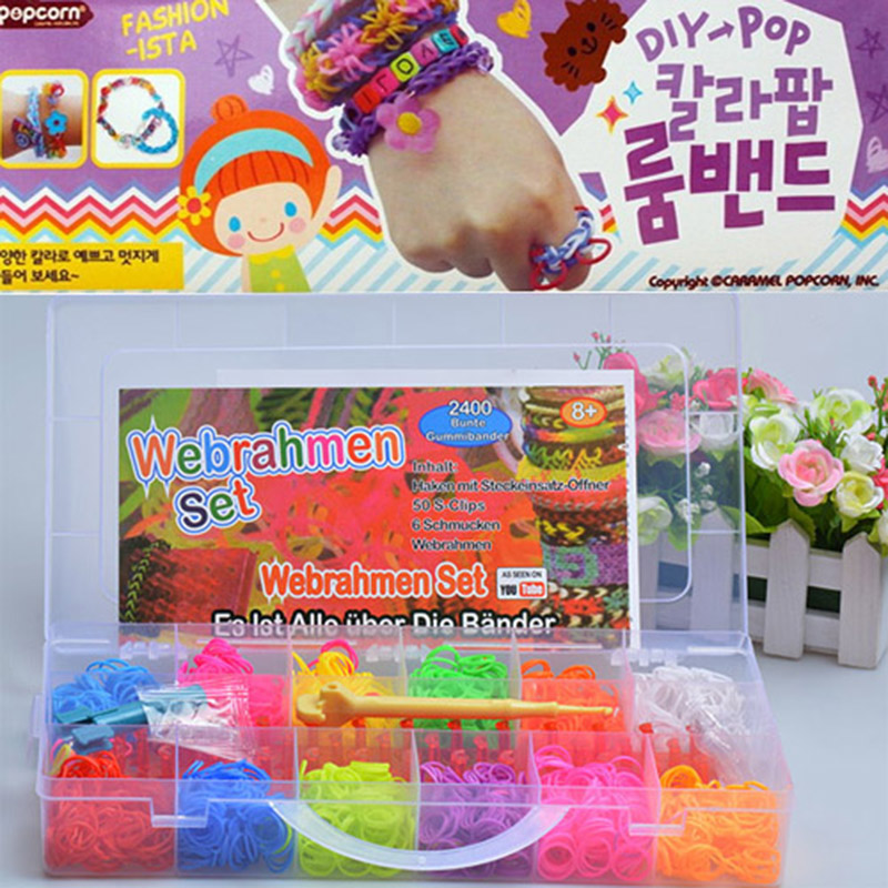 Colorful 2400pcs Silicone DIY Bracelet Crazy And Fun Kids Children Handmade Rubber Gum Plaiting Chain Band For Loom Bracelets(China (Mainland))