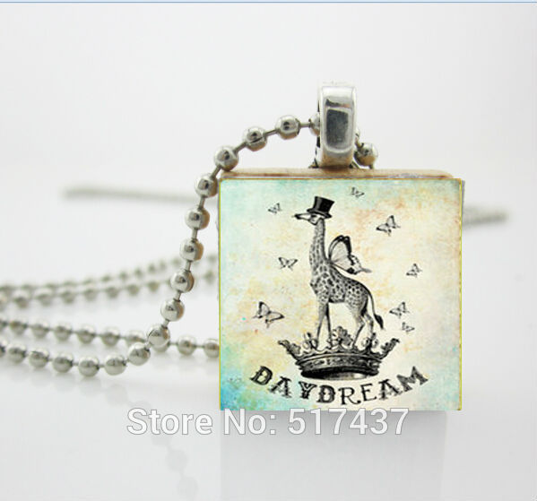 Scrabble Jewelry,Scrabble Game Tile Jewelry - Day Dream Giraffe -Scrabble Pendant-Free Silver Ball Chain Necklace,Scrabble Tiles(China (Mainland))