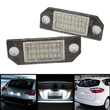 2Pcs White 24 LED Car Number License Plate Light Lamp for Ford Focus C-MAX MK2(China (Mainland))