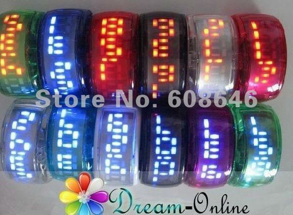 Freeshipping LED bracelet watch factory supply directly high quality LED light display opp bag pack 50pcs/lot