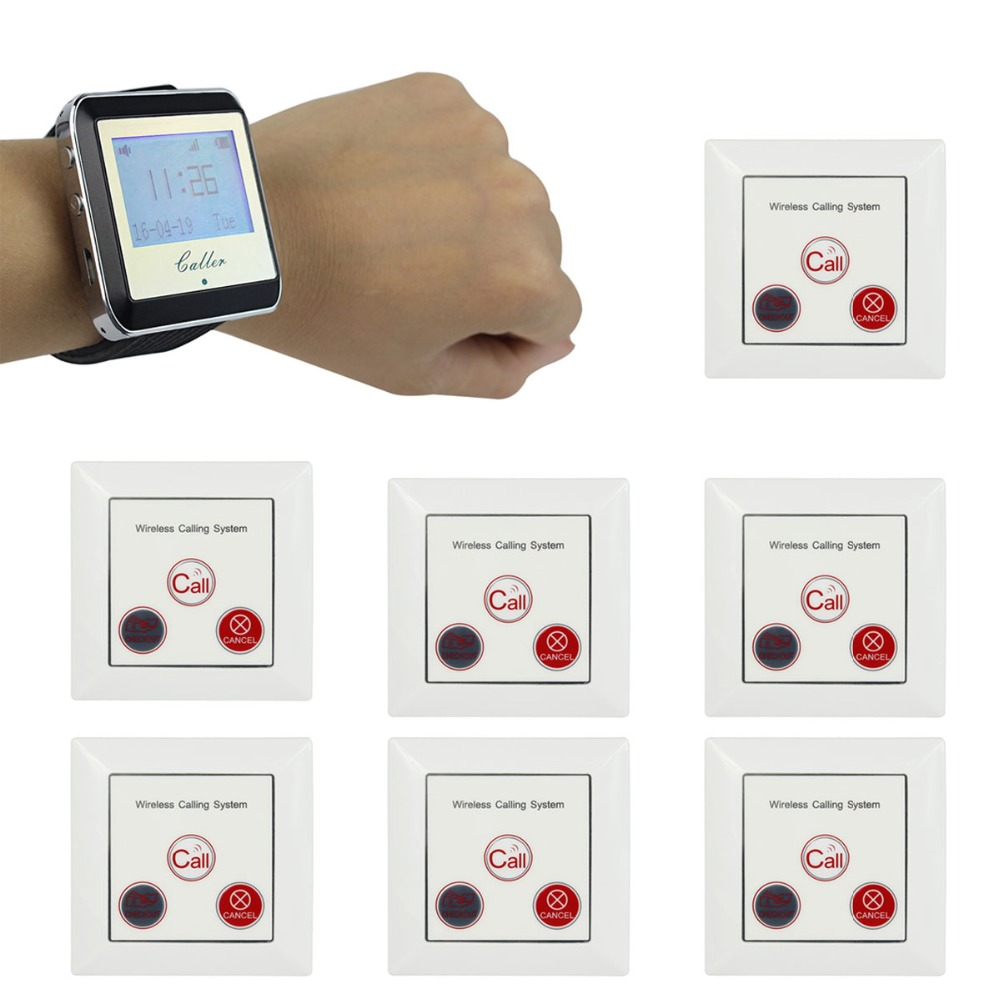 1 Watch Pager Receiver+10 Call Button Wireless Calling System Restaurant Paging System Wholesale F4422A(China (Mainland))