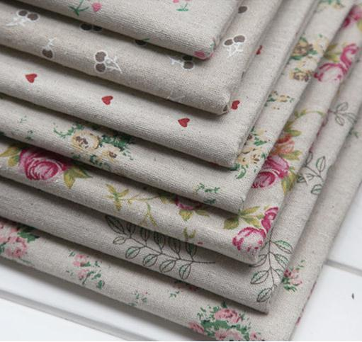 7pcs rustic print rose love cherry linen fabric square bundle rough zakka table cloth Diy handmade 50cm* 50cm/piece B2016999