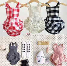 Hot selling 2015 summer kids Bobo choses romper baby Boys Girls cotton plaid Jumpsuit suspenders bread pants Rompers(China (Mainland))