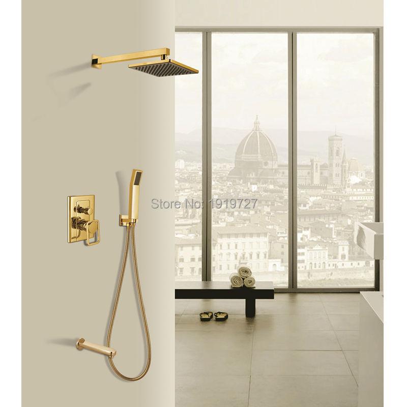 Luxury Bathroom Wall Mounted 10 inch Rain Shower Head Arm Gold ...