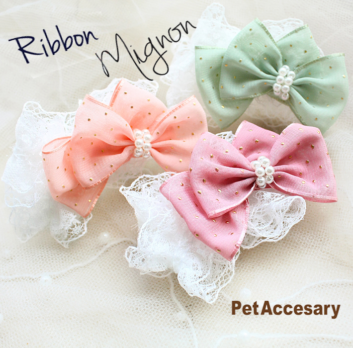Free shipping South Korean upmarket custom imported chiffon gold dot lace dog hair bows pet grooming accessories on a clip(China (Mainland))