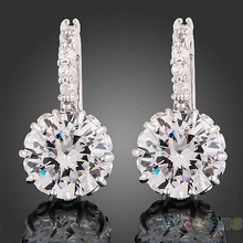 1 Pair Women 18k white Gold Gp clear crystal jewelry stud  earrings zircon brass Material Hot High Quality 2013 02BH(China (Mainland))