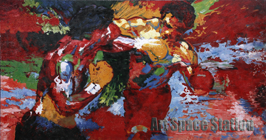 """Abstract Artists Paintings repro by Leroy Neiman """"Rocky vs Apollo"""" Sports Movie Poster Hand Painted OIL PAINTING on Canvas(China (Mainland))"""