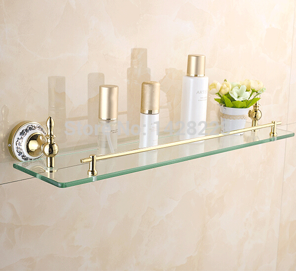 luxury golden single tier bathroom glass shelf wall. Black Bedroom Furniture Sets. Home Design Ideas