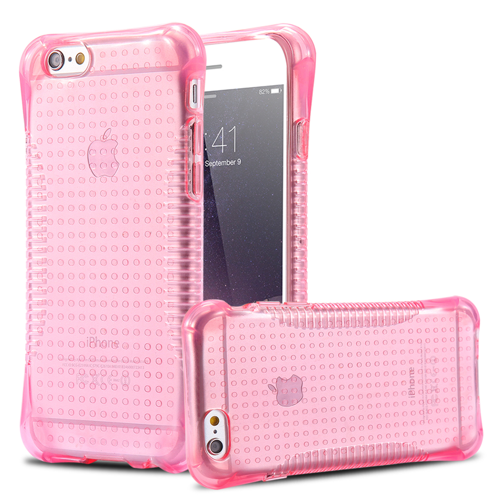 FLOVEME Anti Slide Fashion ShockProof Crystal Clear Soft TPU Case For iPhone 6 6s Pink Transparent Phone Cover for iphone6 Capa(China (Mainland))