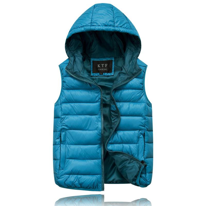 Двусторонняя одежда женщин / мужчин новинка жилет с капюшоном теплый пуховик жилет Большой размер верхняя одежда L-3XL B375