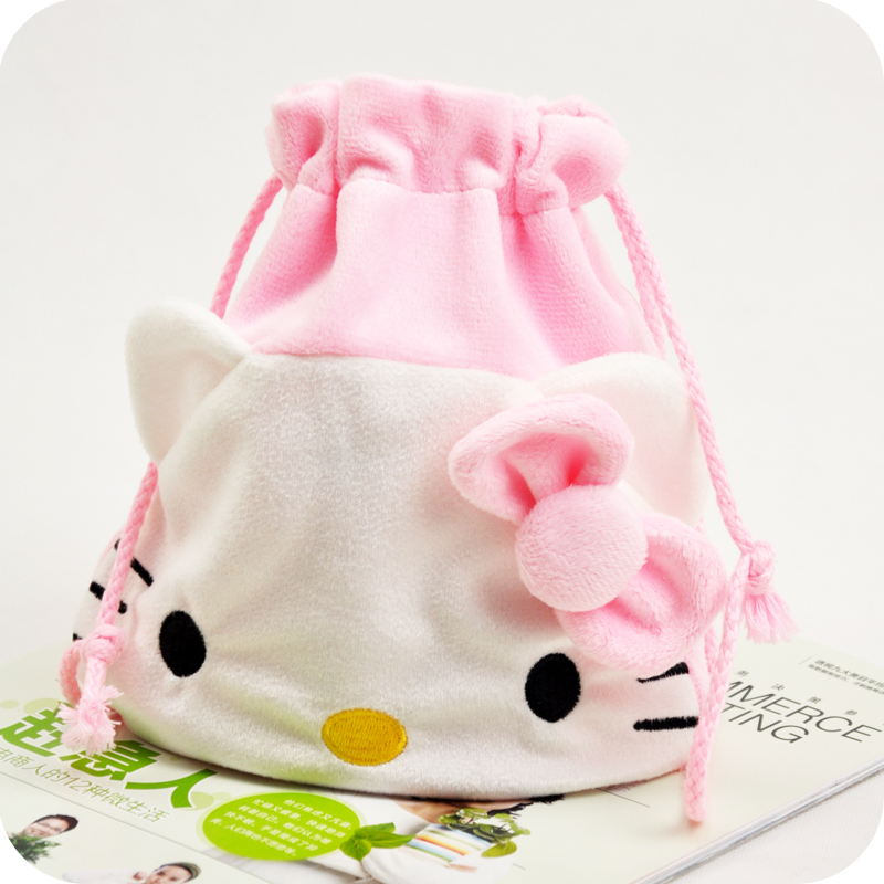Kawaii Pink HELLO KITTY Flannel Drawstring Travel Pouch.Finishing Storage bag Portable Sundries Cosmetic Storage Bags Organizer(China (Mainland))