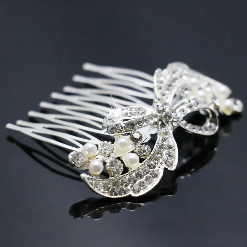 2015 Crystal Hairpin Bow Hair Jewelry Pearl Accessories Fashion Hair Comb Hair Clips Party Jewelry For Women Wedding Decoration(China (Mainland))
