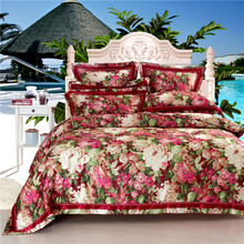 Top quality  4pcs bedding set bed sheet home textile bedding set satin jacquard bedding bed linen quilt queen king bedclothes(China (Mainland))