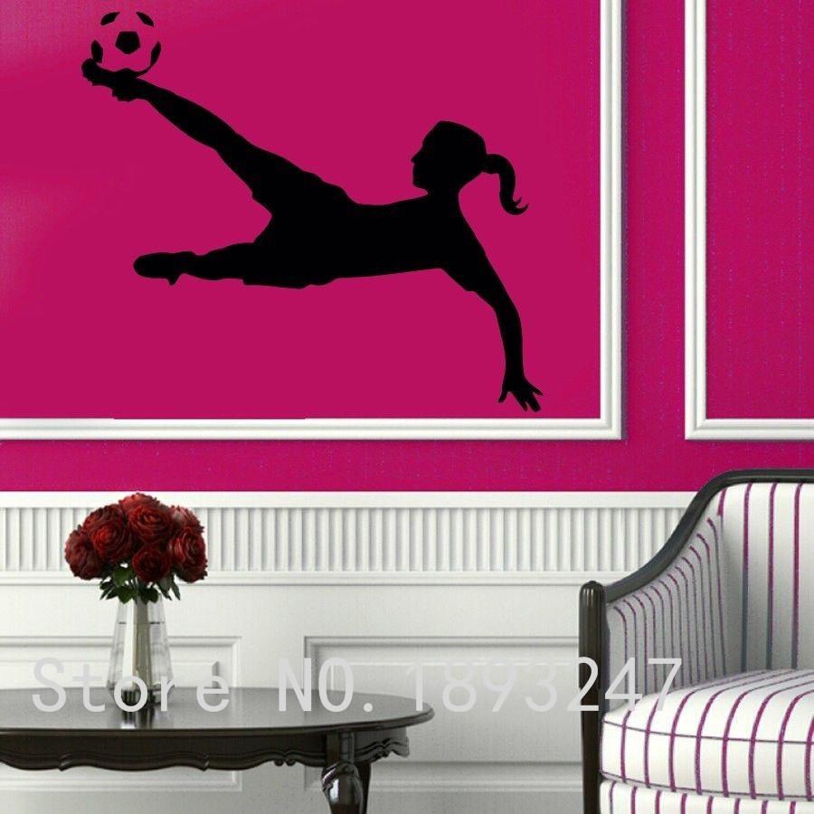 Football Player Vinyl Wall sticker Sport Soccer Girl Plaing Football Mural Art Wall Decal Boy's Bedroom Home Decoration(China (Mainland))